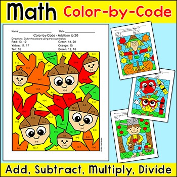 Fall Math Color by Code Bundle: Johnny Appleseed, Scarecrow, Apples, Acorns