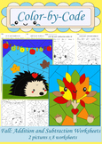 Fall Math: Color by Number Worksheets