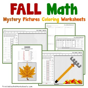 Fall Math Worksheets Mystery Pictures, With Autumn Addition and Subtraction