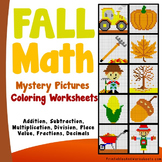 Math Mystery Picture, Fall Math Coloring Sheets for Centers Activities