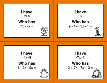 Fall Math: Combining Like Terms - I Have, Who Has