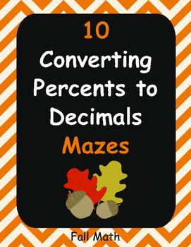 Fall Math: Converting Percents to Decimals Maze