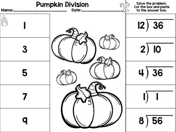 Fall Math Cut and Paste Activities