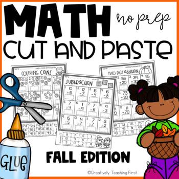 Fall Math Cut and Paste NO PREP {Grades 1-3}