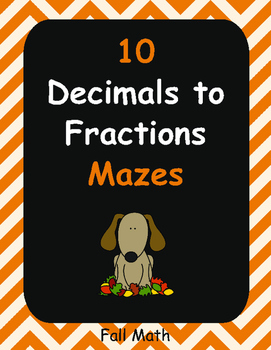 Fall Math: Decimals to Fractions Maze