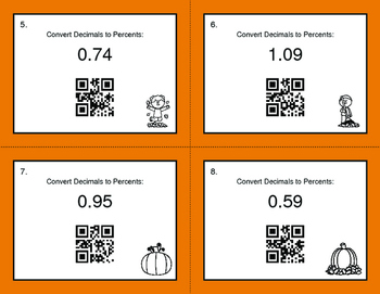 Fall Math: Decimals to Percents QR Code Task Cards