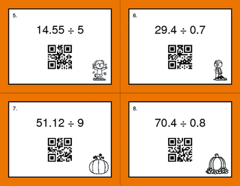 Fall Math: Dividing Decimals QR Code Task Cards