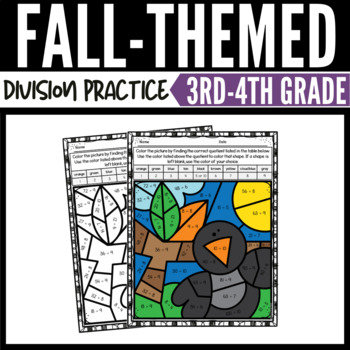 Fall Math Division Color by Number Worksheets 2