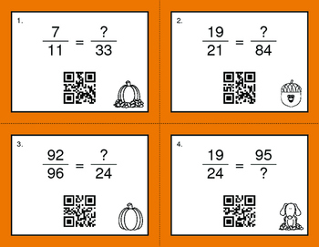 Fall Math: Equivalent Fractions QR Code Task Cards