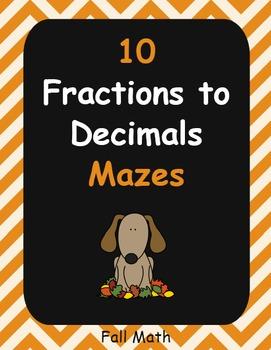 Fall Math: Fractions to Decimals Maze