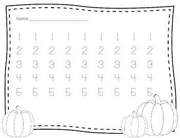 Fall Math Freebie- Tracing numbers 1-5 and Tens Frames