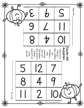 Fall Math Game COVER-ALL ADDITION: Dice Game for Partners