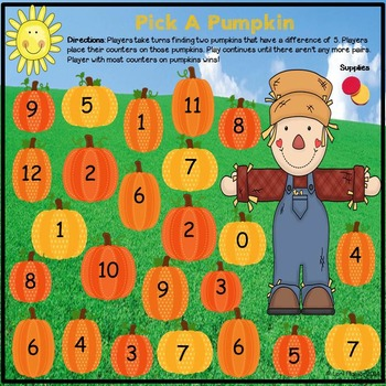 Fall Math Game - Differences of 5