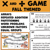 Fall Math Game Multiplication and Division Grades 3-5 (64 question cards)