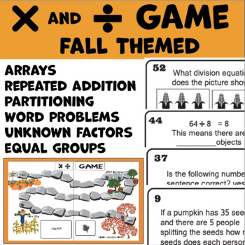 Fall Math Game Multiplication and Division Grades 3-5 (64
