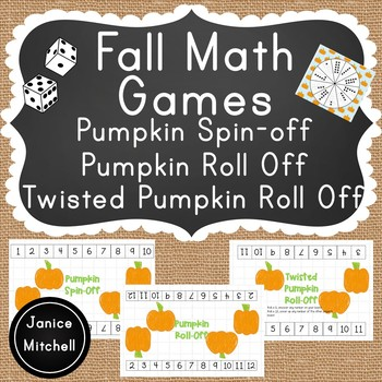 Fall Math Games Ten Frame Subitizing, Addition with Dice and Counting On