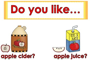 Fall Math Graph Apple Cider or Apple Juice