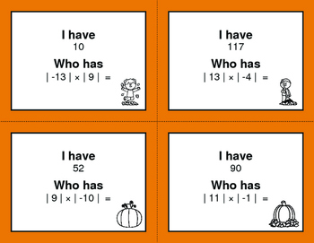 Fall Math: I Have, Who Has - Absolute Value - Multiplication & Division