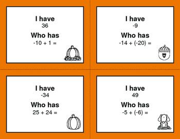 Fall Math: I Have, Who Has - Adding Integers