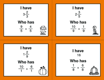 Fall Math: I Have, Who Has - Adding Like Fractions
