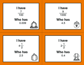 Fall Math: I Have, Who Has - Decimals to Fractions
