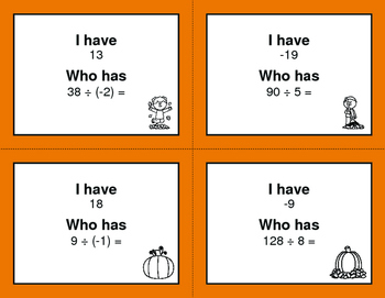 Fall Math: I Have, Who Has - Dividing Integers