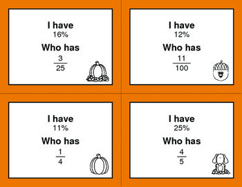 Fall Math: I Have, Who Has - Fractions to Percents