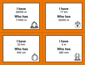 Fall Math: I Have, Who Has - Metric Length Conversions