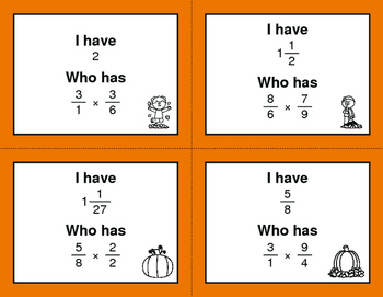 Fall Math: I Have, Who Has - Multiplying Fractions