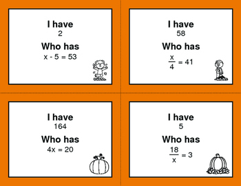Fall Math: I Have, Who Has - One Step Equations (Mixed Operations)