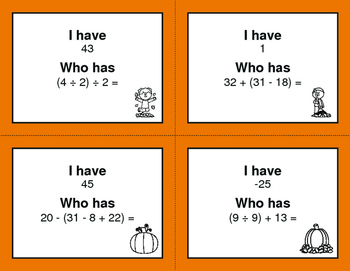 Fall Math: I Have, Who Has - Order of Operations