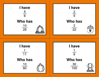 Fall Math: I Have, Who Has - Simplifying Proper Fractions