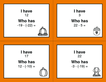 Fall Math: I Have, Who Has - Subtracting Integers