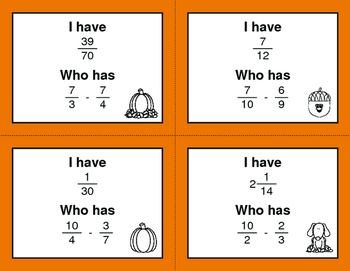Fall Math: I Have, Who Has - Subtracting Unlike Fractions