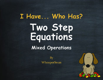 Fall Math: I Have, Who Has - Two Step Equations