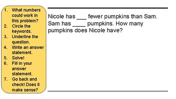 Fall Math Journal Numberless Word Problems