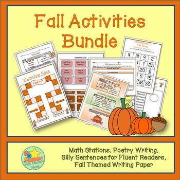 Fall Activities Math & Literacy - Math Games, Poetry Writing, Silly Sentences