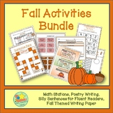 Fall Math and Literacy Bundle - Math Games, Poetry Writing, Silly Sentences