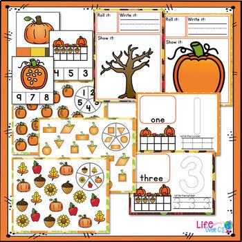 Fall Math & Literacy Centers for Pre-K/Preschool BUNDLE