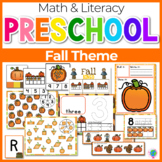 Preschool/ Pre-K Math & Literacy Centers | Fall Theme