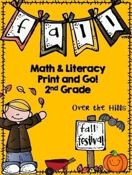 Fall Math & Literacy Print & Go {2nd Grade CCSS}