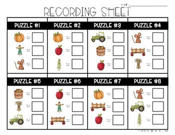 Fall Math Logic Puzzles- Double Digit Addition and Subtraction
