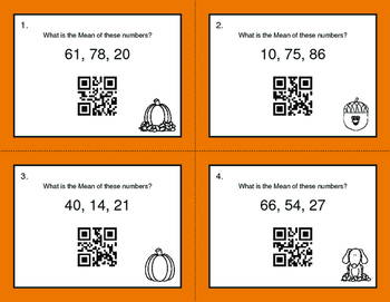 Fall Math: Mean QR Code Task Cards