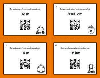 Fall Math: Metric Length Conversions QR Code Task Cards