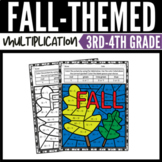 Fall Math Multiplication Color by Number Worksheets