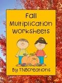 Fall Math Multiplication Worksheets