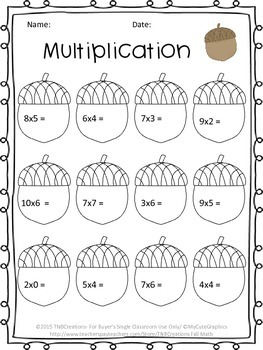 Fall Math Multiplication Worksheets By Tnbcreations  Tpt Fall Math Multiplication Worksheets