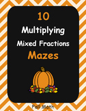 Fall Math: Multiplying Mixed Fractions Maze