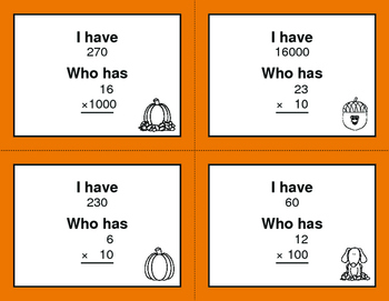 Fall Math: Multiplying by 10, 100, and 1000 - I Have, Who Has