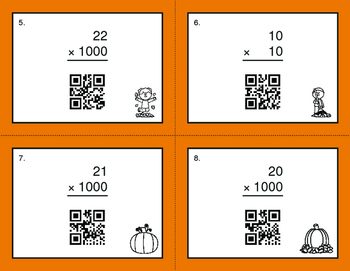 Fall Math: Multiplying by 10, 100, and 1000 QR Code Task Cards